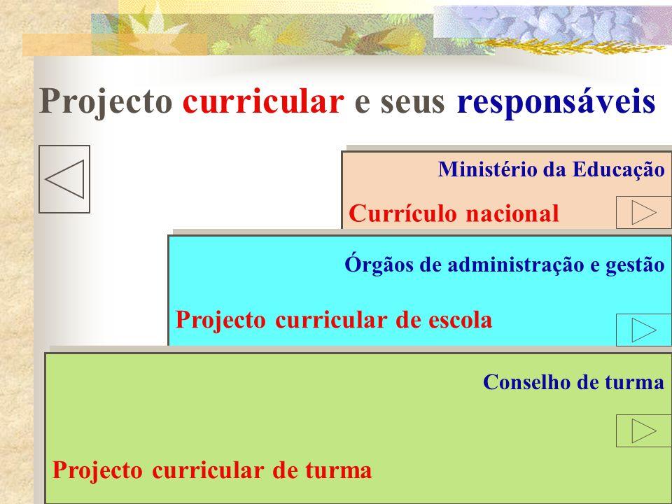 Currículo nacional Projecto curricular de escola Projecto curricular de turma Projecto curricular e seus responsáveis Ministério da Educação Órgãos de