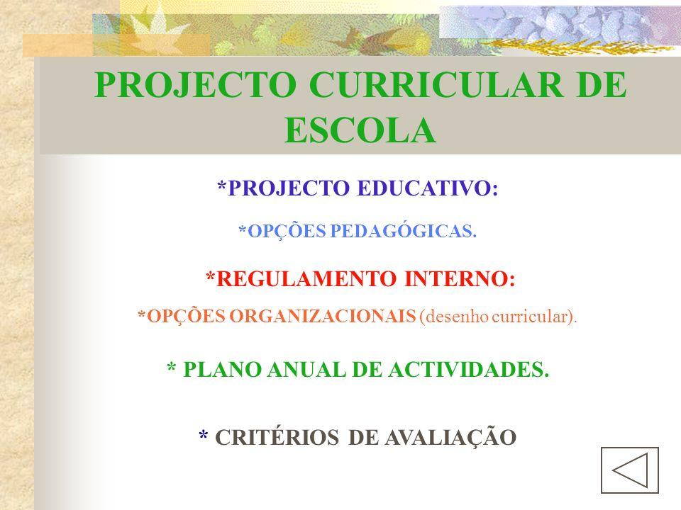 PROJECTO CURRICULAR DE ESCOLA *PROJECTO EDUCATIVO: *OPÇÕES ORGANIZACIONAIS (desenho curricular).