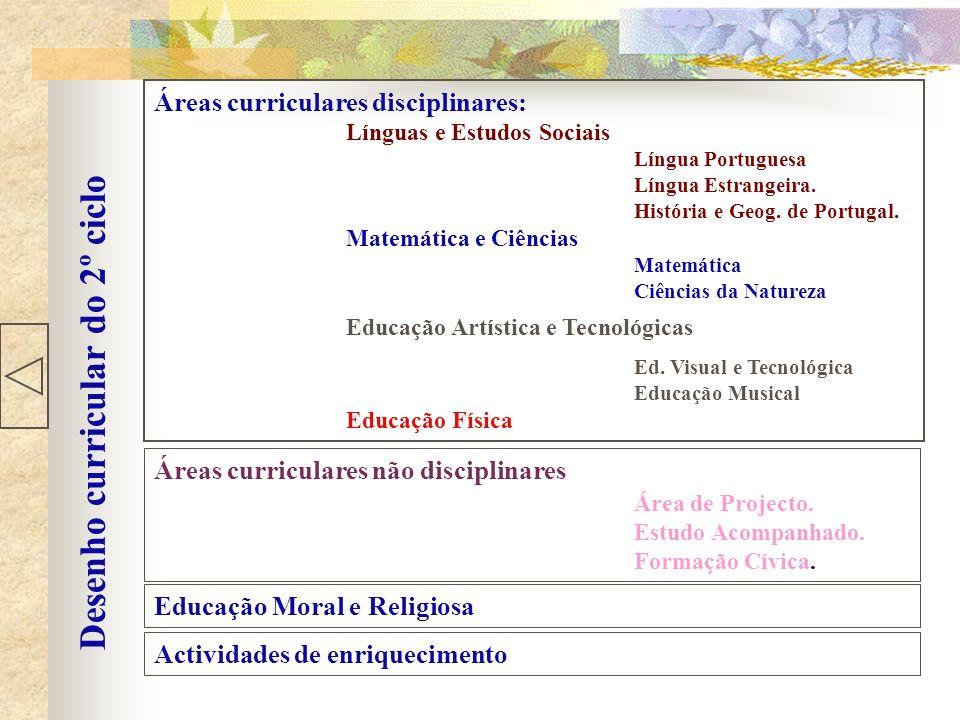 Desenho curricular do 2º ciclo Áreas curriculares disciplinares: Línguas e Estudos Sociais Língua Portuguesa Língua Estrangeira. História e Geog. de P