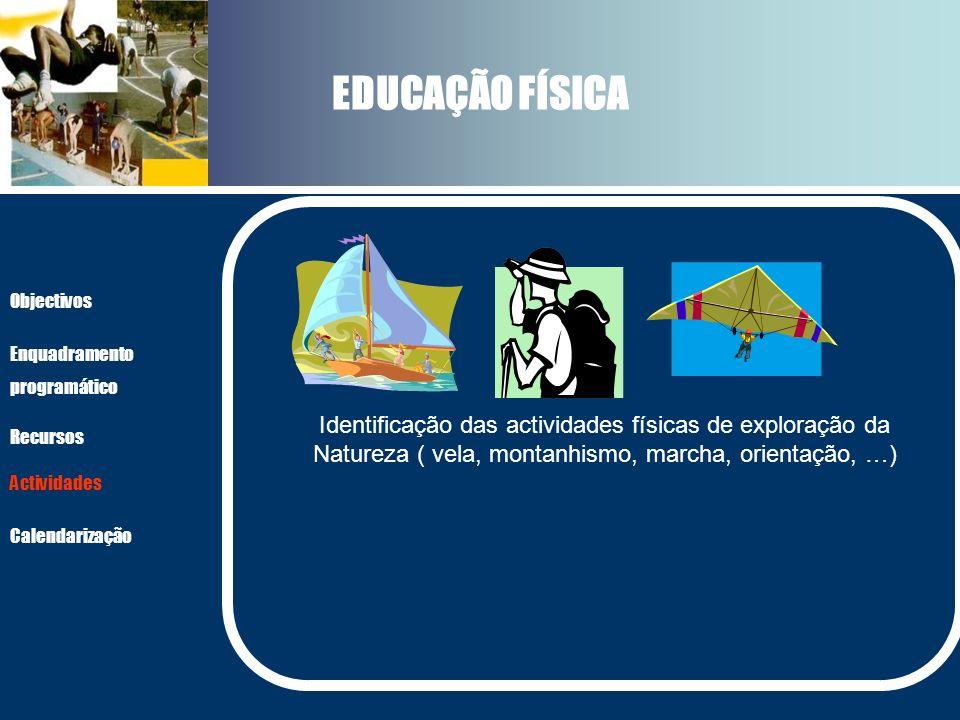 EDUCAÇÃO FÍSICA Actividades Recursos Objectivos Enquadramento programático Calendarização Identificação das actividades físicas de exploração da Natur