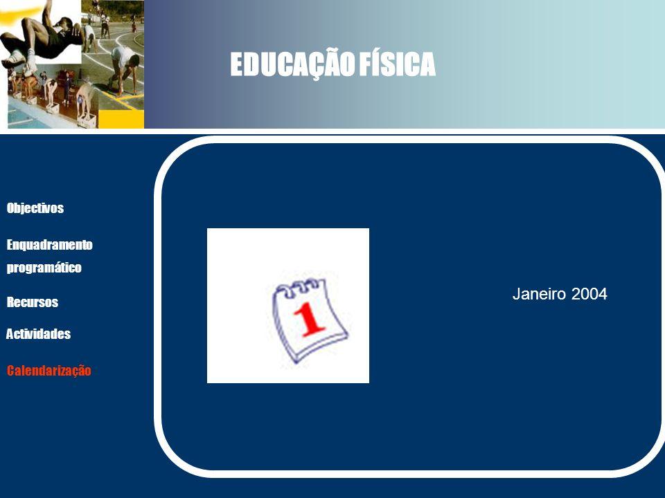 EDUCAÇÃO FÍSICA Actividades Recursos Objectivos Enquadramento programático Calendarização Janeiro 2004