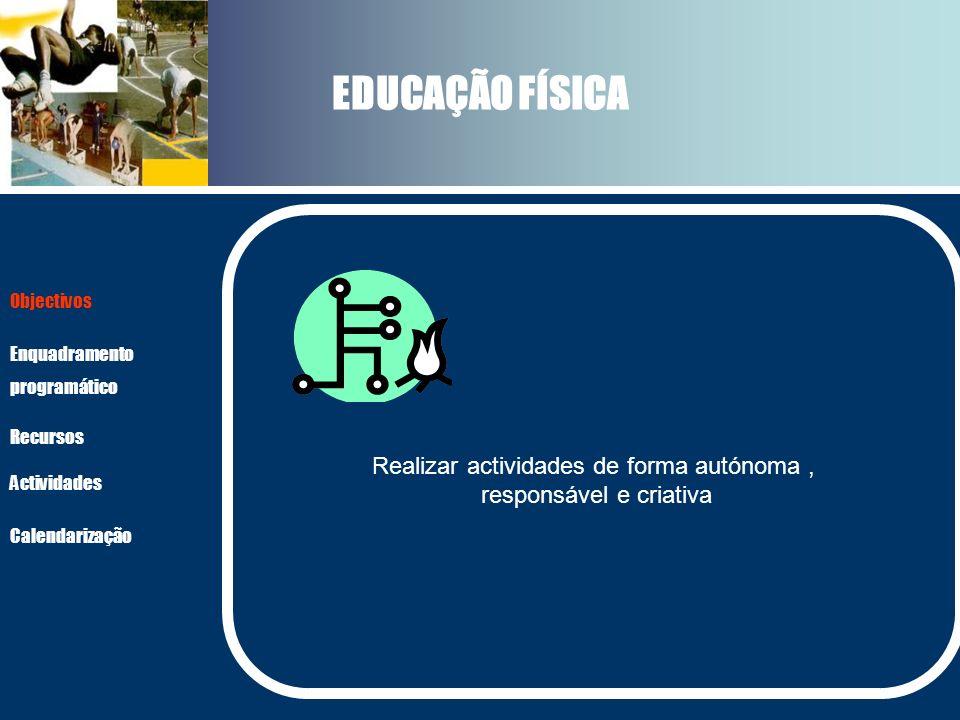 EDUCAÇÃO FÍSICA Realizar actividades de forma autónoma, responsável e criativa Actividades Recursos Objectivos Enquadramento programático Calendarizaç