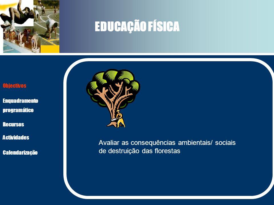EDUCAÇÃO FÍSICA Actividades Recursos Objectivos Enquadramento programático Calendarização Avaliar as consequências ambientais/ sociais de destruição d