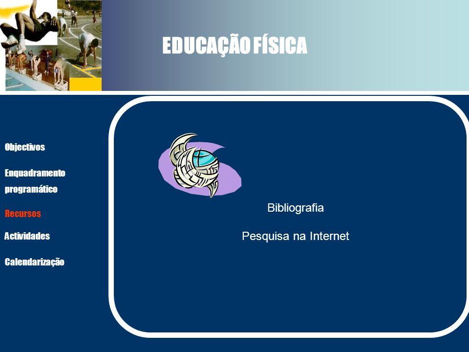 EDUCAÇÃO FÍSICA Actividades Recursos Objectivos Enquadramento programático Calendarização Bibliografia Pesquisa na Internet