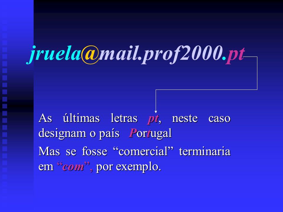 jruela@mail.prof2000.pt As últimas letras pt, pt, neste caso designam o país Portugal Mas se fosse comercial terminaria em com,com, por exemplo.