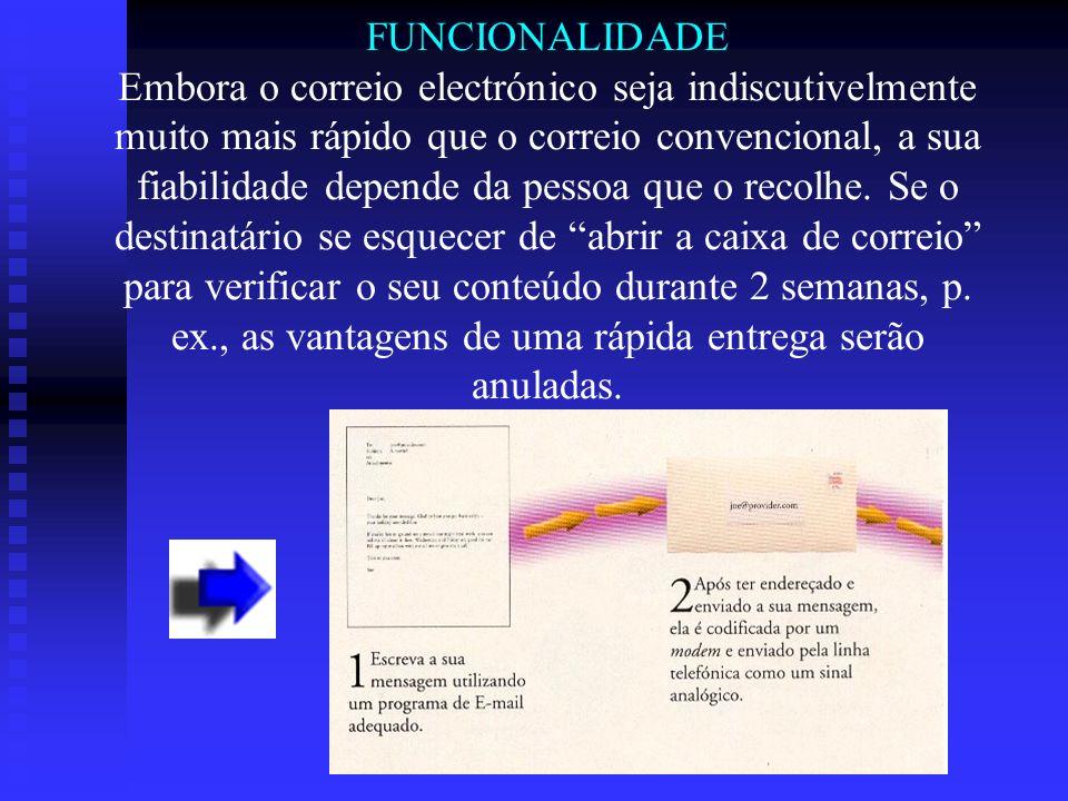 FUNCIONALIDADE Embora o correio electrónico seja indiscutivelmente muito mais rápido que o correio convencional, a sua fiabilidade depende da pessoa q