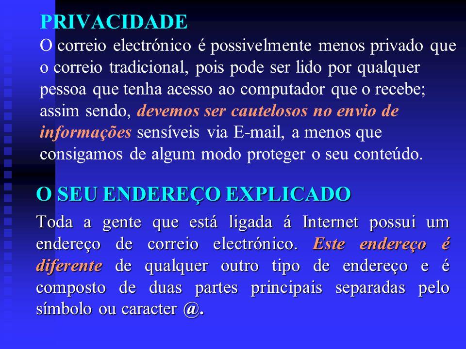 PRIVACIDADE O correio electrónico é possivelmente menos privado que o correio tradicional, pois pode ser lido por qualquer pessoa que tenha acesso ao