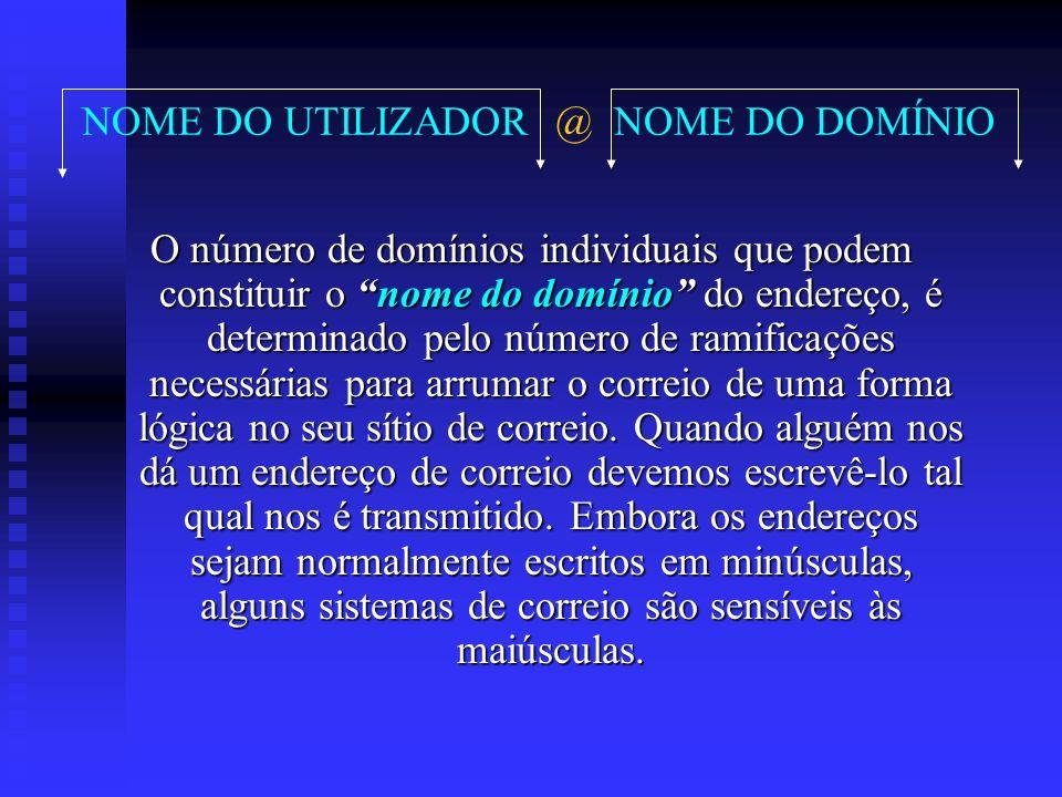 NOME DO UTILIZADOR @ NOME DO DOMÍNIO O número de domínios individuais que podem constituir o nomenome do domínio domínio do endereço, é determinado pe
