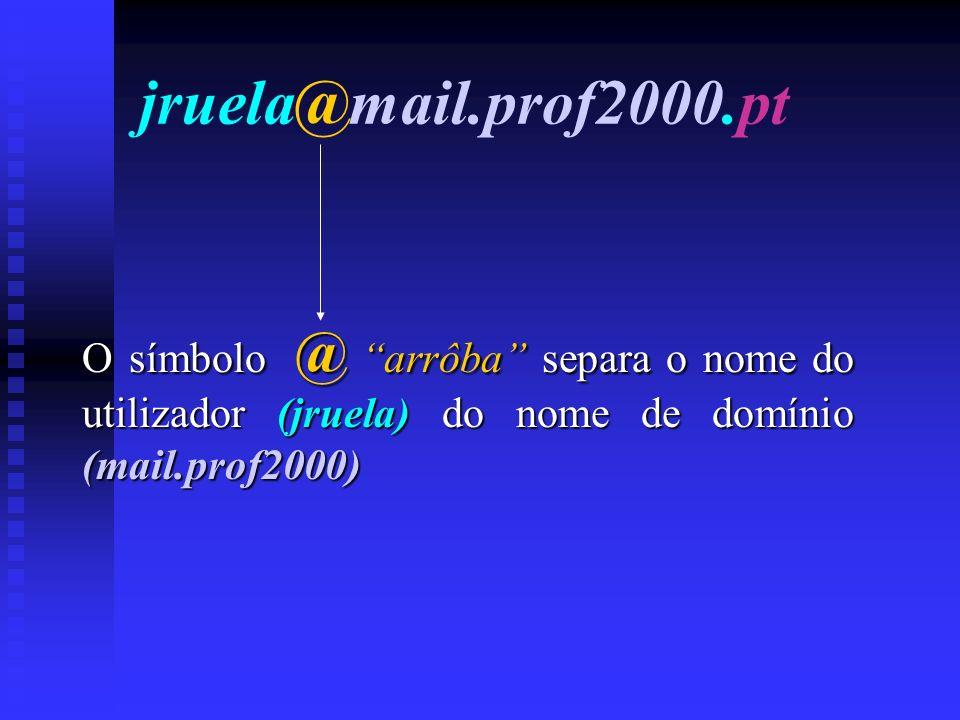 jruela@mail.prof2000.pt O símbolo @ arrôba arrôba separa o nome do utilizador (jruela) (jruela) do nome de domínio (mail.prof2000)