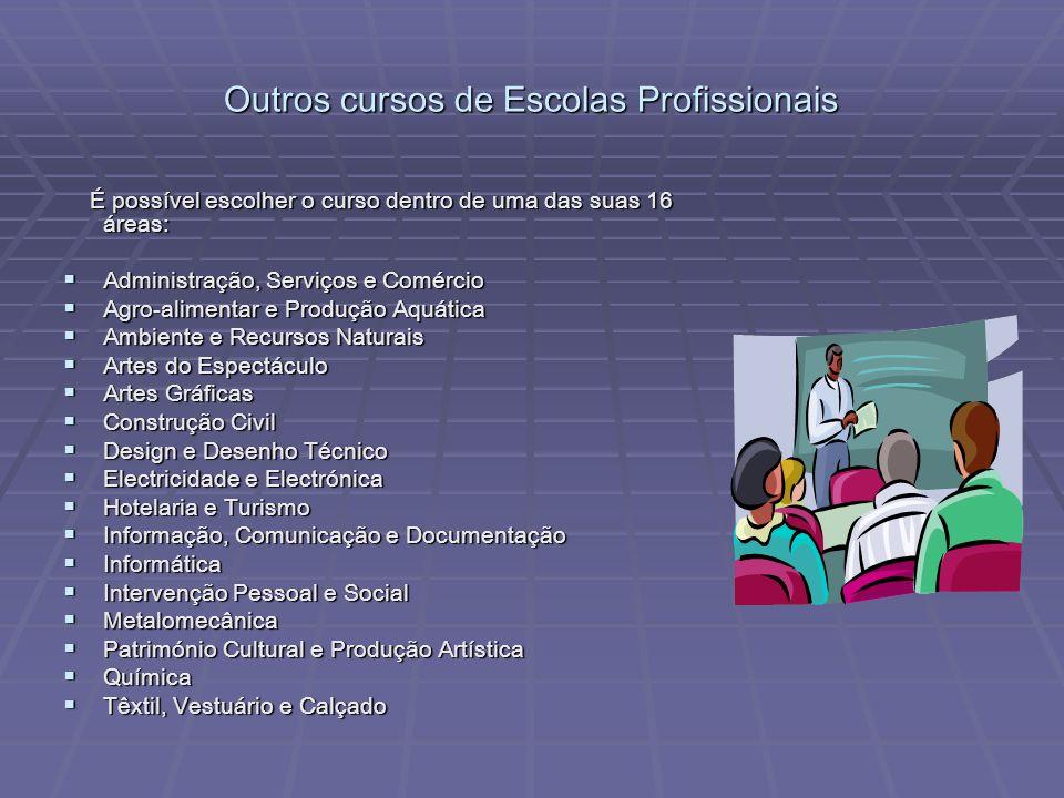 Outros cursos de Escolas Profissionais É possível escolher o curso dentro de uma das suas 16 áreas: É possível escolher o curso dentro de uma das suas