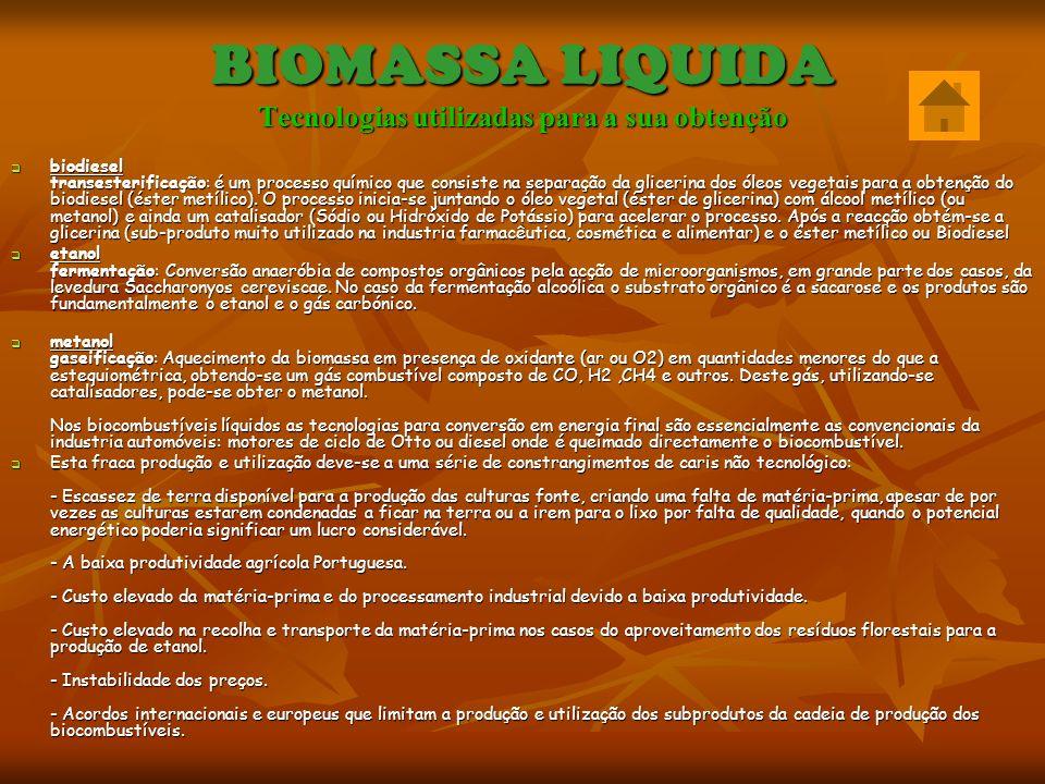 BIOMASSA LIQUIDA Existe uma série de biocombustíveis líquidos com potencial de utilização, todos com origem em culturas energéticas : - biodiesel (éter metílico): obtido principalmente a partir de óleos de colza ou girassol, por um processo químico chamado transesterificação.