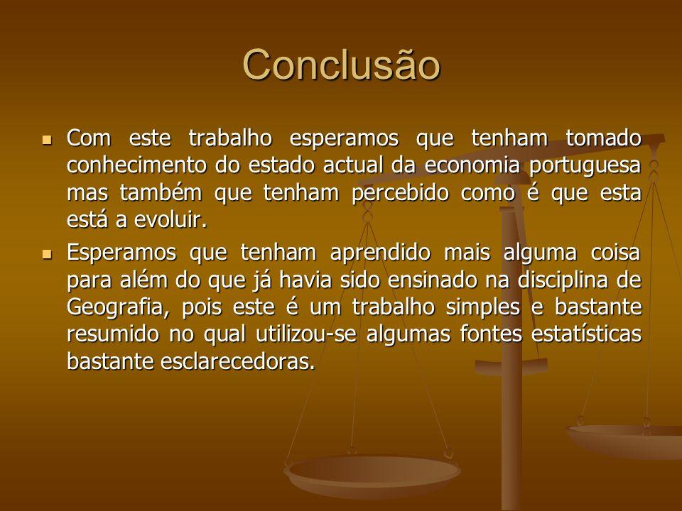 Conclusão Com este trabalho esperamos que tenham tomado conhecimento do estado actual da economia portuguesa mas também que tenham percebido como é qu