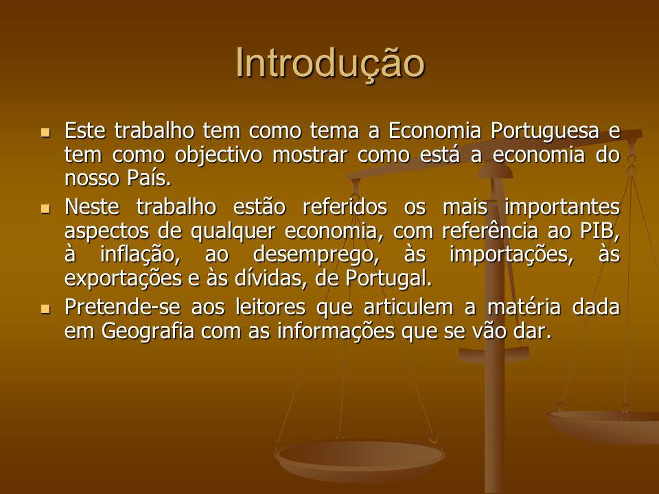 Introdução Este trabalho tem como tema a Economia Portuguesa e tem como objectivo mostrar como está a economia do nosso País. Este trabalho tem como t