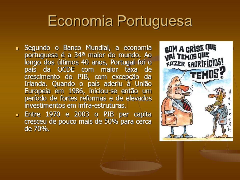 Economia Portuguesa Segundo o Banco Mundial, a economia portuguesa é a 34ª maior do mundo. Ao longo dos últimos 40 anos, Portugal foi o país da OCDE c