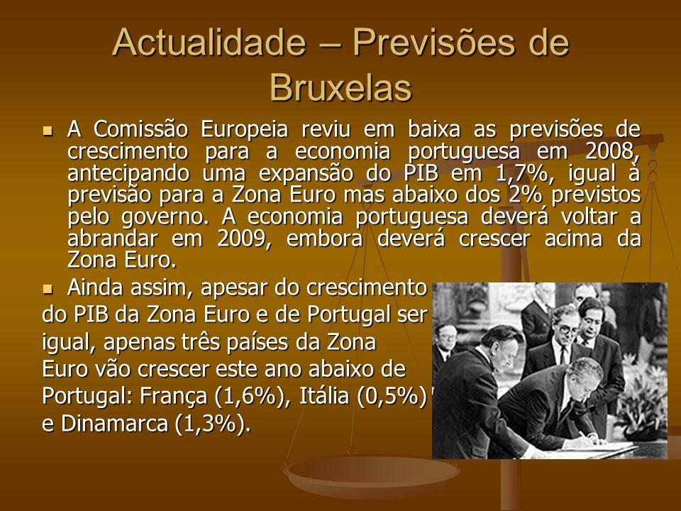 Actualidade – Previsões de Bruxelas A Comissão Europeia reviu em baixa as previsões de crescimento para a economia portuguesa em 2008, antecipando uma