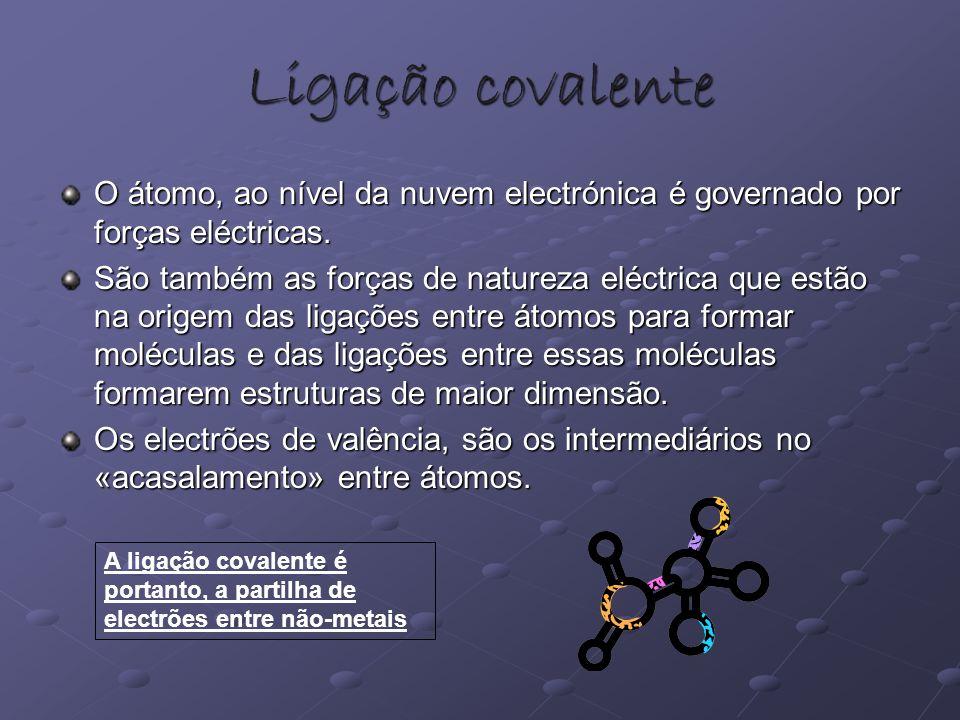 Ligação covalente O átomo, ao nível da nuvem electrónica é governado por forças eléctricas. São também as forças de natureza eléctrica que estão na or