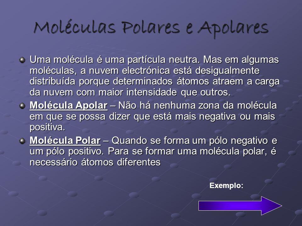 Moléculas Polares e Apolares Uma molécula é uma partícula neutra. Mas em algumas moléculas, a nuvem electrónica está desigualmente distribuída porque