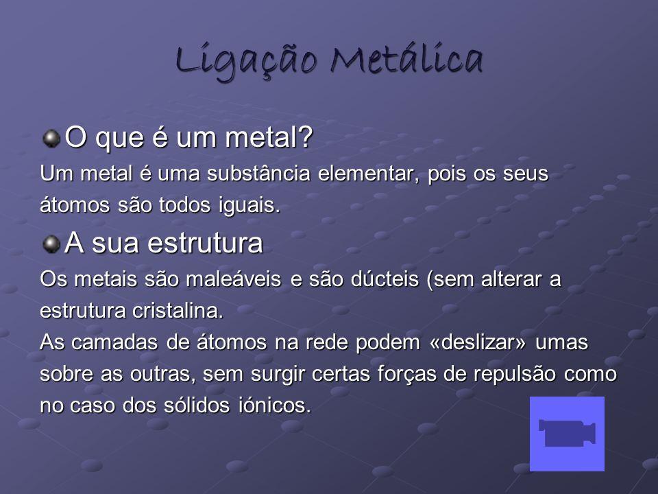 Ligação Metálica O que é um metal? Um metal é uma substância elementar, pois os seus átomos são todos iguais. A sua estrutura Os metais são maleáveis