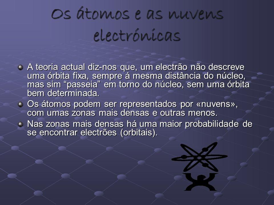 Os átomos e as nuvens electrónicas A teoria actual diz-nos que, um electrão não descreve uma órbita fixa, sempre á mesma distância do núcleo, mas sim