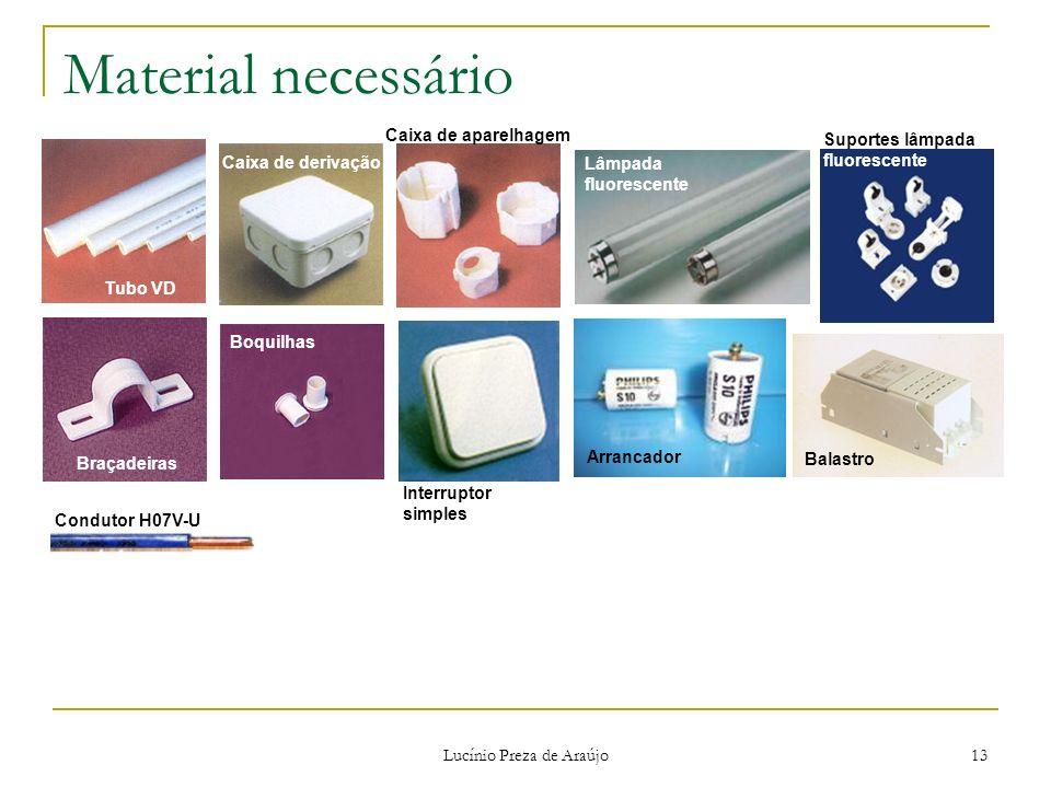 Lucínio Preza de Araújo 13 Material necessário Tubo VD Braçadeiras Caixa de derivação Boquilhas Caixa de aparelhagem Condutor H07V-U Arrancador Balast