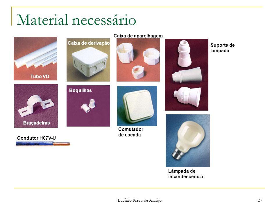 Lucínio Preza de Araújo 27 Material necessário Tubo VD Braçadeiras Caixa de derivação Boquilhas Caixa de aparelhagem Lâmpada de incandescência Suporte