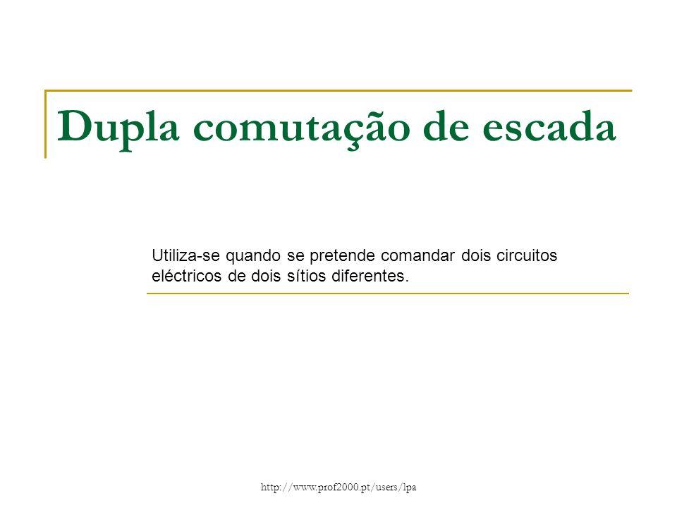 http://www.prof2000.pt/users/lpa Dupla comutação de escada Utiliza-se quando se pretende comandar dois circuitos eléctricos de dois sítios diferentes.