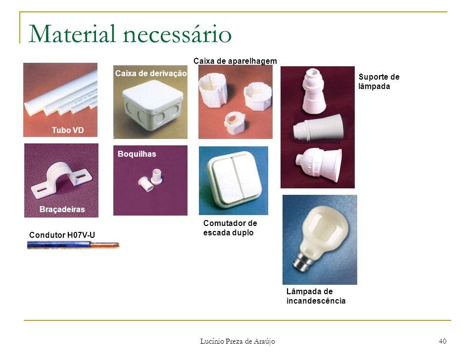 Lucínio Preza de Araújo 40 Material necessário Tubo VD Braçadeiras Caixa de derivação Boquilhas Caixa de aparelhagem Lâmpada de incandescência Suporte