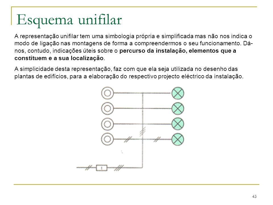 43 Esquema unifilar A representação unifilar tem uma simbologia própria e simplificada mas não nos indica o modo de ligação nas montagens de forma a c