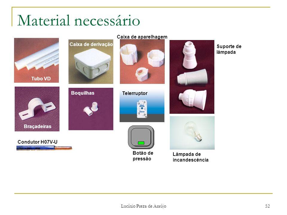 Lucínio Preza de Araújo 52 Material necessário Tubo VD Braçadeiras Caixa de derivação Boquilhas Caixa de aparelhagem Suporte de lâmpada Condutor H07V-