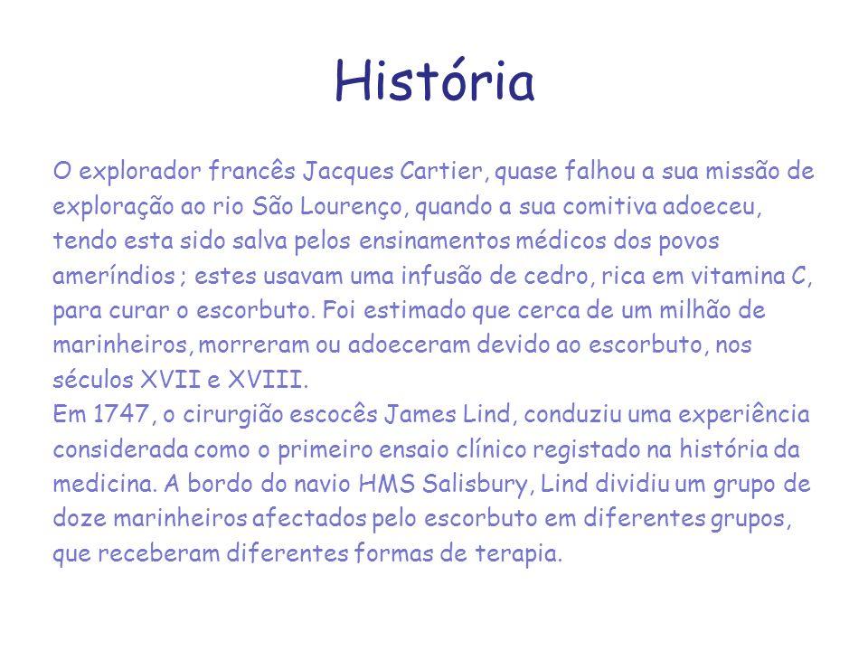 História O explorador francês Jacques Cartier, quase falhou a sua missão de exploração ao rio São Lourenço, quando a sua comitiva adoeceu, tendo esta