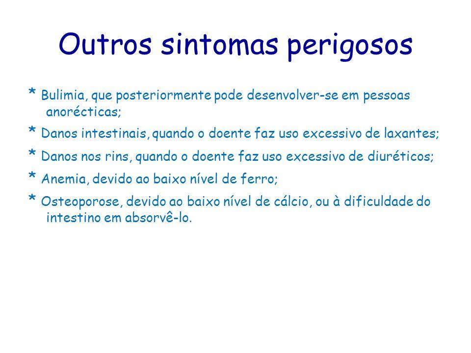 Outros sintomas perigosos * Bulimia, que posteriormente pode desenvolver-se em pessoas anorécticas; * Danos intestinais, quando o doente faz uso exces