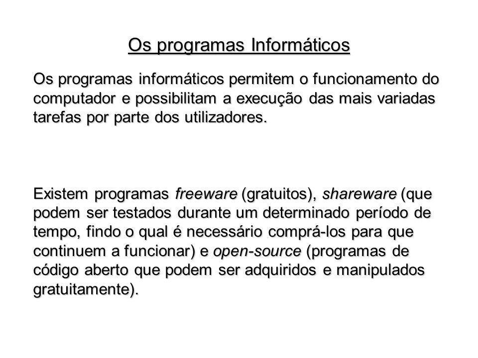 Os programas informáticos permitem o funcionamento do computador e possibilitam a execução das mais variadas tarefas por parte dos utilizadores. Exist