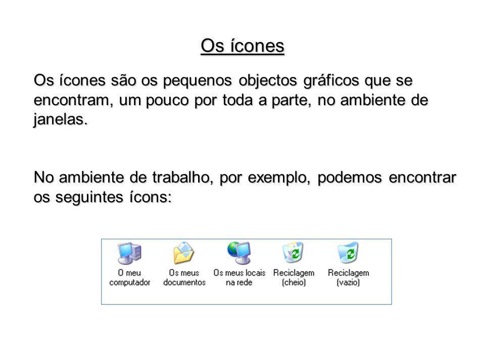 Os ícones são os pequenos objectos gráficos que se encontram, um pouco por toda a parte, no ambiente de janelas. No ambiente de trabalho, por exemplo,