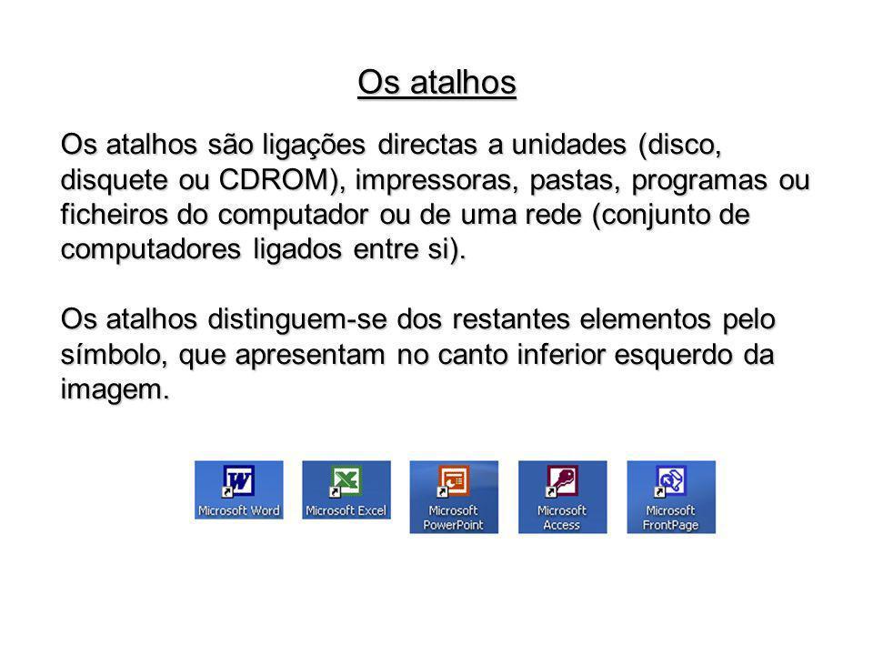 Os atalhos são ligações directas a unidades (disco, disquete ou CDROM), impressoras, pastas, programas ou ficheiros do computador ou de uma rede (conj