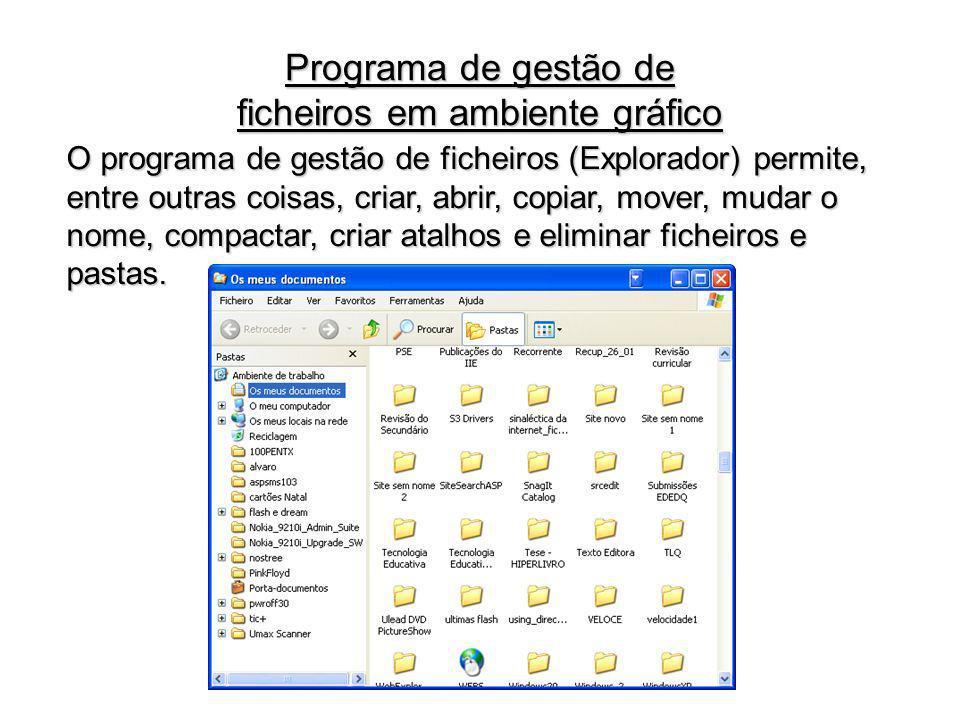 O programa de gestão de ficheiros (Explorador) permite, entre outras coisas, criar, abrir, copiar, mover, mudar o nome, compactar, criar atalhos e eli