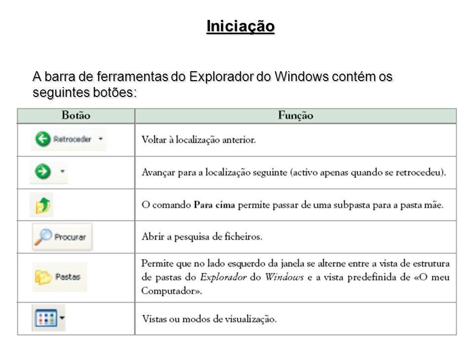 Iniciação A barra de ferramentas do Explorador do Windows contém os seguintes botões: