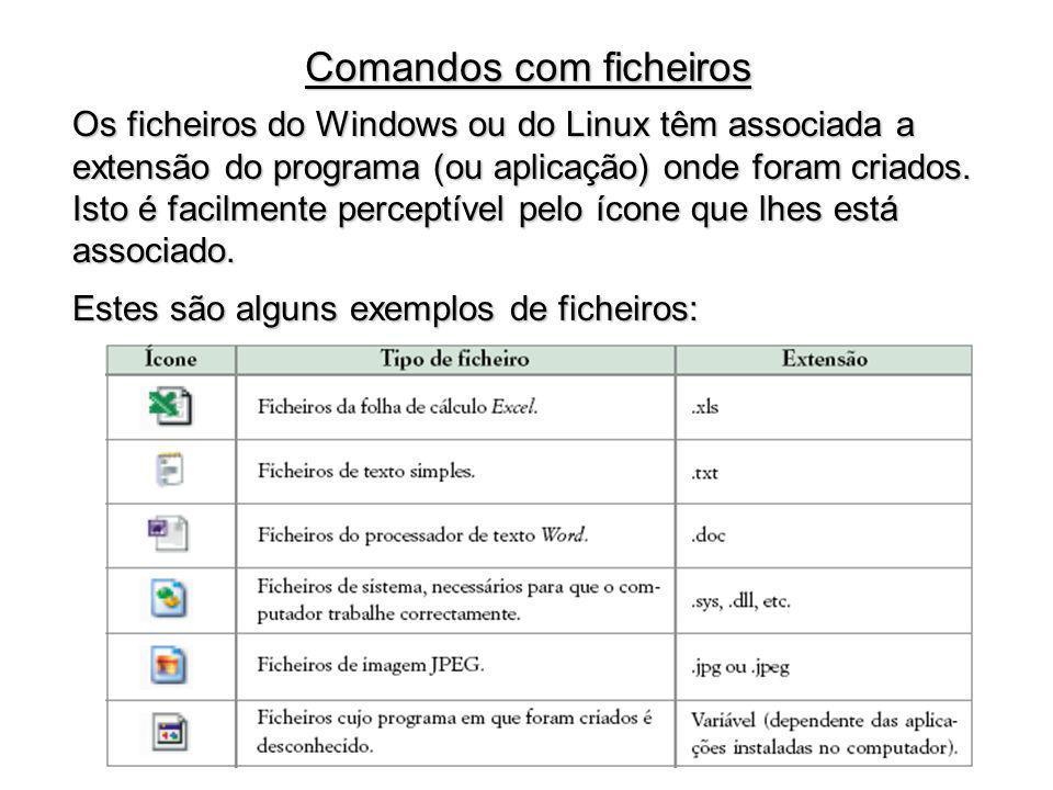 Os ficheiros do Windows ou do Linux têm associada a extensão do programa (ou aplicação) onde foram criados. Isto é facilmente perceptível pelo ícone q