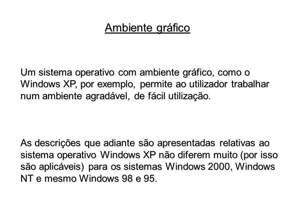 Um sistema operativo com ambiente gráfico, como o Windows XP, por exemplo, permite ao utilizador trabalhar num ambiente agradável, de fácil utilização