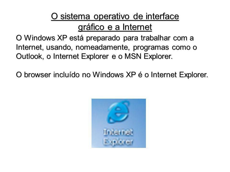 O Windows XP está preparado para trabalhar com a Internet, usando, nomeadamente, programas como o Outlook, o Internet Explorer e o MSN Explorer. O bro