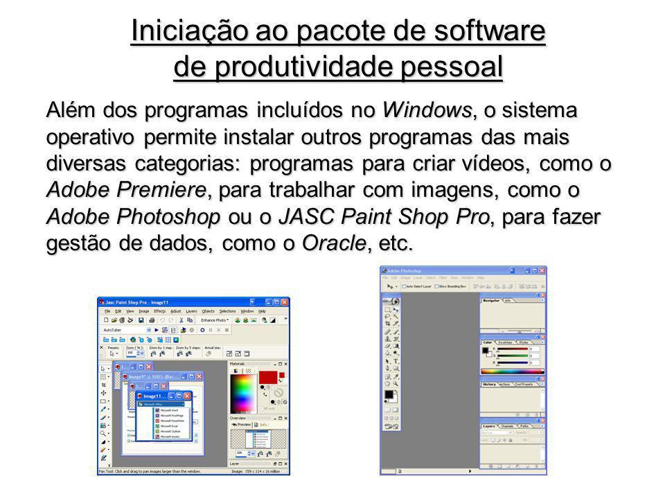 Além dos programas incluídos no Windows, o sistema operativo permite instalar outros programas das mais diversas categorias: programas para criar víde