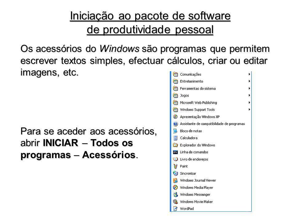 Os acessórios do Windows são programas que permitem escrever textos simples, efectuar cálculos, criar ou editar imagens, etc. Para se aceder aos acess