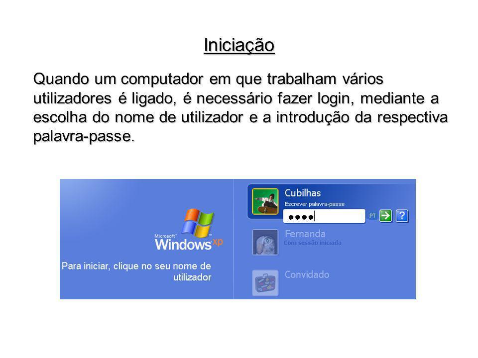 Quando um computador em que trabalham vários utilizadores é ligado, é necessário fazer login, mediante a escolha do nome de utilizador e a introdução