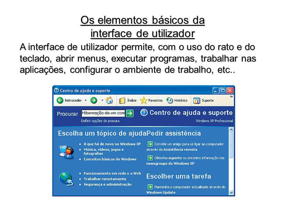 A interface de utilizador permite, com o uso do rato e do teclado, abrir menus, executar programas, trabalhar nas aplicações, configurar o ambiente de