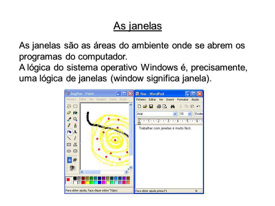 As janelas são as áreas do ambiente onde se abrem os programas do computador. A lógica do sistema operativo Windows é, precisamente, uma lógica de jan
