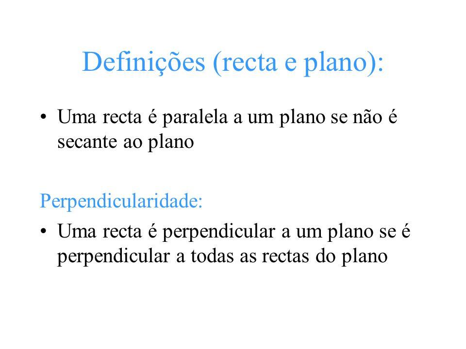 Definições (recta e plano): Uma recta é paralela a um plano se não é secante ao plano Perpendicularidade: Uma recta é perpendicular a um plano se é pe