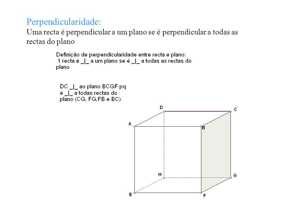 Perpendicularidade: Uma recta é perpendicular a um plano se é perpendicular a todas as rectas do plano