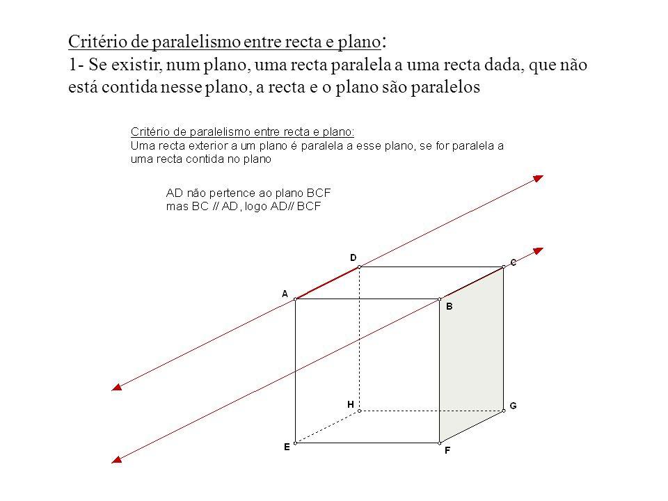 Critério de paralelismo entre recta e plano : 1- Se existir, num plano, uma recta paralela a uma recta dada, que não está contida nesse plano, a recta