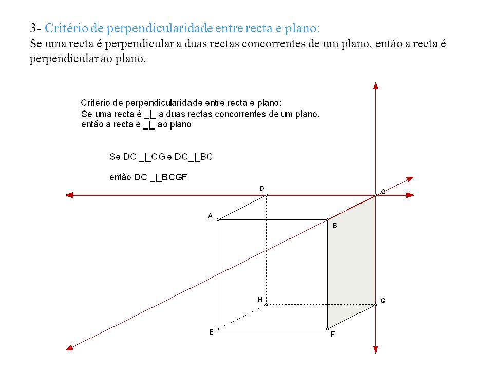 3- Critério de perpendicularidade entre recta e plano: Se uma recta é perpendicular a duas rectas concorrentes de um plano, então a recta é perpendicu