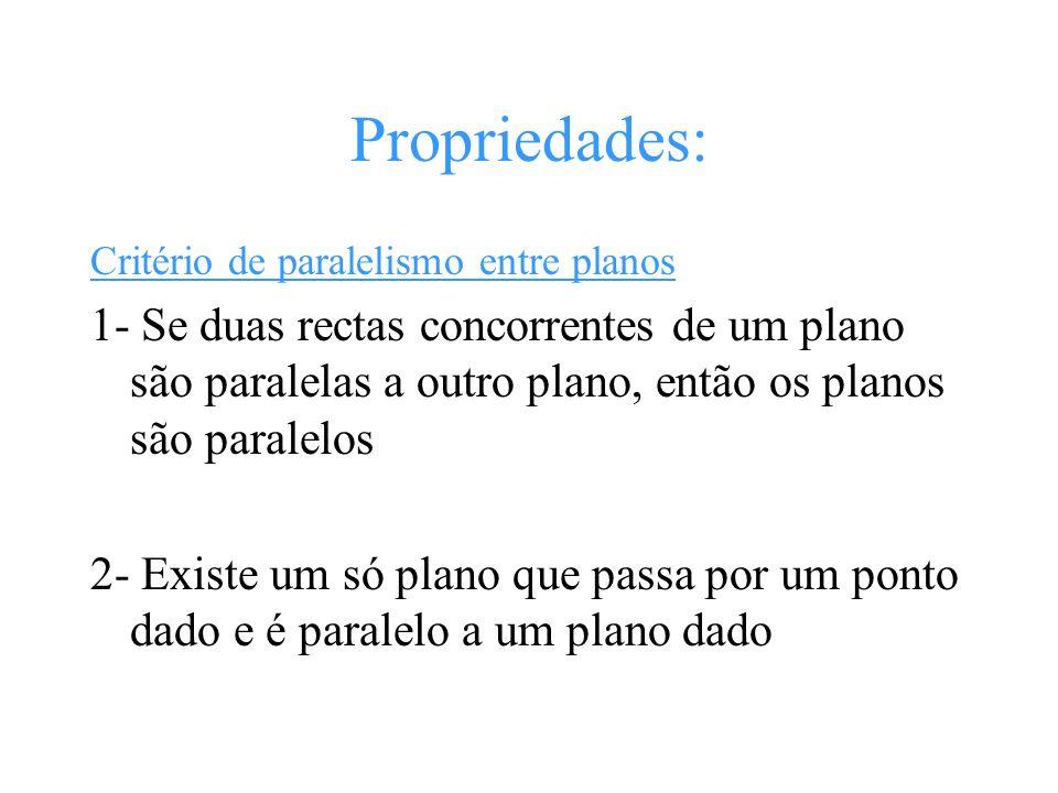 Propriedades: Critério de paralelismo entre planos 1- Se duas rectas concorrentes de um plano são paralelas a outro plano, então os planos são paralel