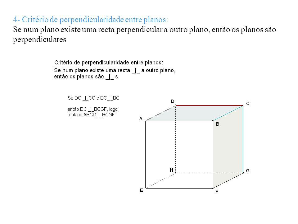 4- Critério de perpendicularidade entre planos: Se num plano existe uma recta perpendicular a outro plano, então os planos são perpendiculares